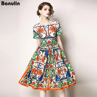 2018 Runway Dress Spring Summer Fashion Women High Quality Floral Print Elegant Chiffon Dresses Party Vestidos Robe Femme