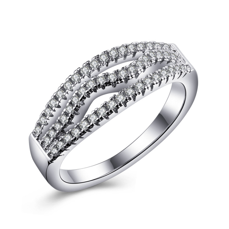 QCOOLJLY Round Cut Cubic Zircon Engagement Silver Color Ring Fashion CZ Nice Wedding Jewelry For Man and Women