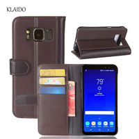 KLAIDO Genuine Leather Case For Samsung Galaxy S8 Active Luxury Flip Silicone Phone Back Cover For