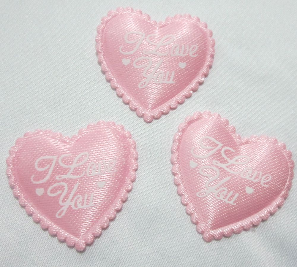 HOT 40pcs Padded Felt Heart I LOVE YOU Applique Sewing Trim DIY Wedding decoration A163
