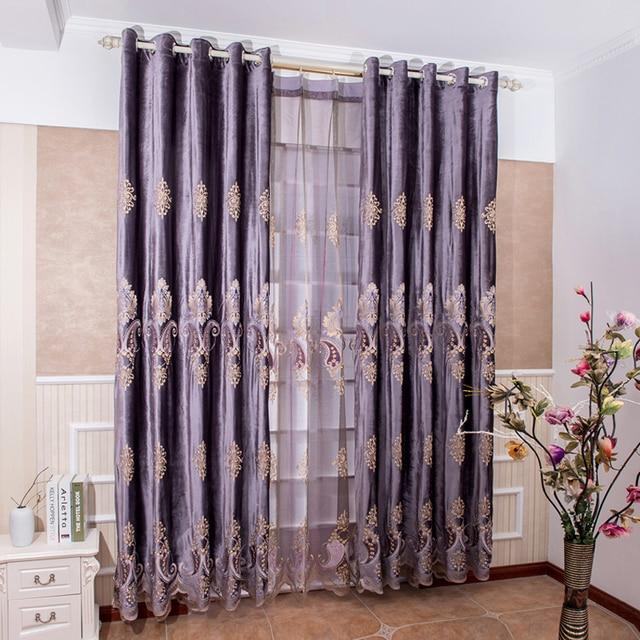 Vorhänge Zum Verdunkeln bestickt gardinen blackout lila wildleder vorhangstoff pailletten