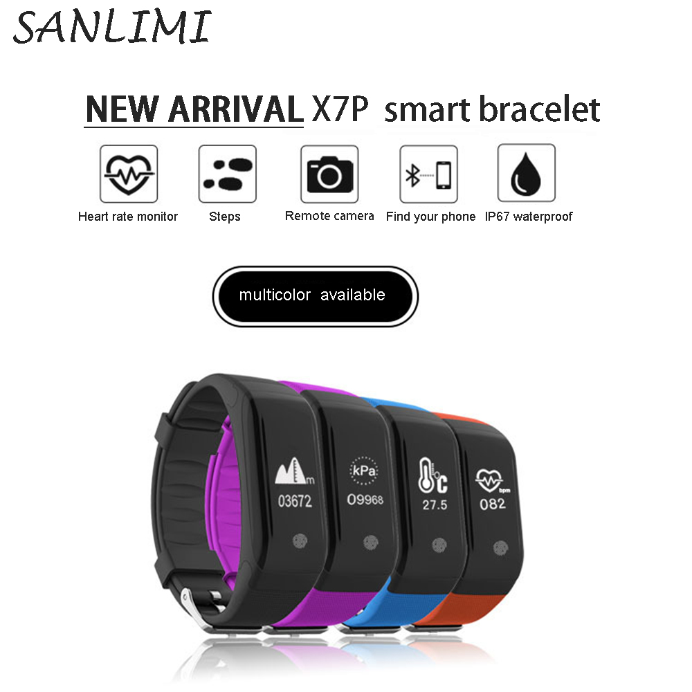 SANLIMI 2017 new arrival X7P Wristband Heart Rate Monitor Bluetooth Smart Band Pedometer Temperature Altitude Sports