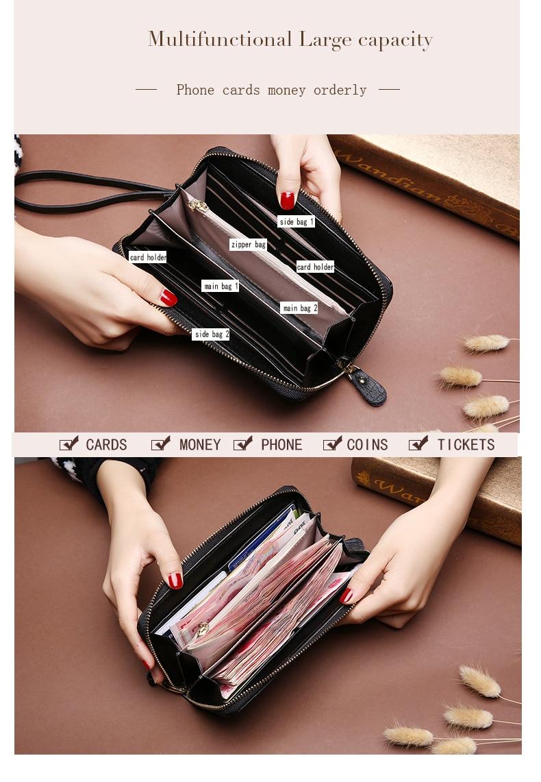 Wristlet Wallet  - Genuine Leather Embossing Wallets For Women