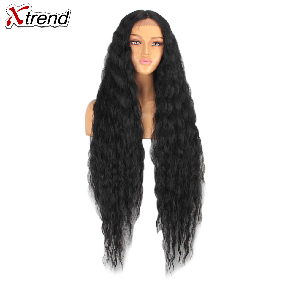 Xtrend Ombre Wigs Hair-Curly Afro Middle-Part Cosplay Brown Lace-Front Black Synthetic title=