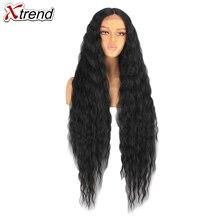 Xtrend sentetik dantel ön peruk siyah 40 inç 613 kırmızı kahverengi Ombre peruk kadınlar için cosplay afro uzun saç kıvırcık orta parça