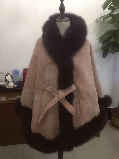 ARLENE SAIN real fox fur and sheepskin  women warm batting pink coat  wholesale price