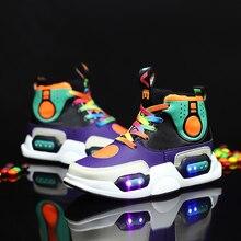 חורף חם נעלי אופנה Led אור עמיד למים לילדים נעלי בנות בני מגפי מושלם עבור ילדים אמיתי עור USB טעינה