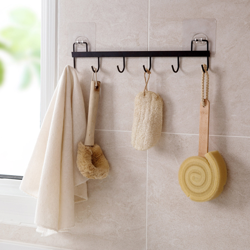Non-drilling Strong Sticking Hook Kitchen Iron Kitchen Utensils Row Wall Hanging Nail-free Load-bearing Traceless Sticky Hook