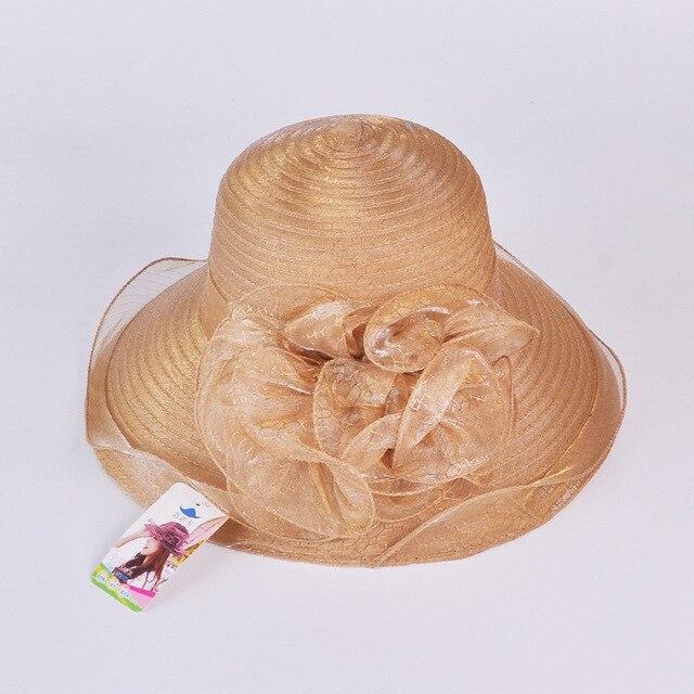 Лето органза ретро дворец большой шляпе Леди рыбак ведро шляпы Beach sun сложить hat