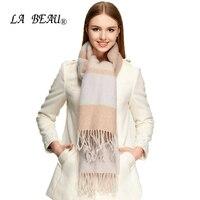 秋のファッションビッグカシミヤアクセサリー冬ウールスカーフ女性ストライプタッ冷たいスカーフ厚い房ヴェルメアクセサリー
