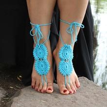 BDJ004 sexy cuerda hecha a mano Crochet Las Sandalias Descalzas Tobillera sexy Novias Zapatos, Playa Yoga Piscina Ropa de Playa Tobillera, Hippy boho chic