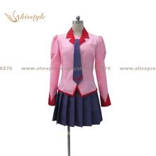 Kisstyle Moda Bakemonogatari Monstory/Senjougahara Hitagi Monogatari Rosa Cosplay Uniforme, Modificado Para Requisitos Particulares Aceptado