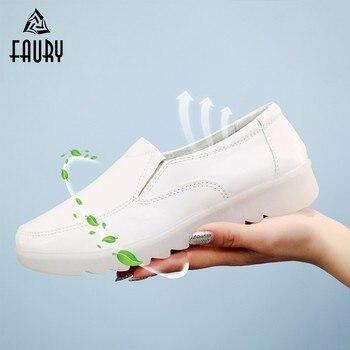 Zapatos blancos de enfermera para mujeres, fondo suave para mujeres, Doctor, dentista, laboratorio, farmacia, salón de belleza, cómodos zapatos de trabajo antideslizantes