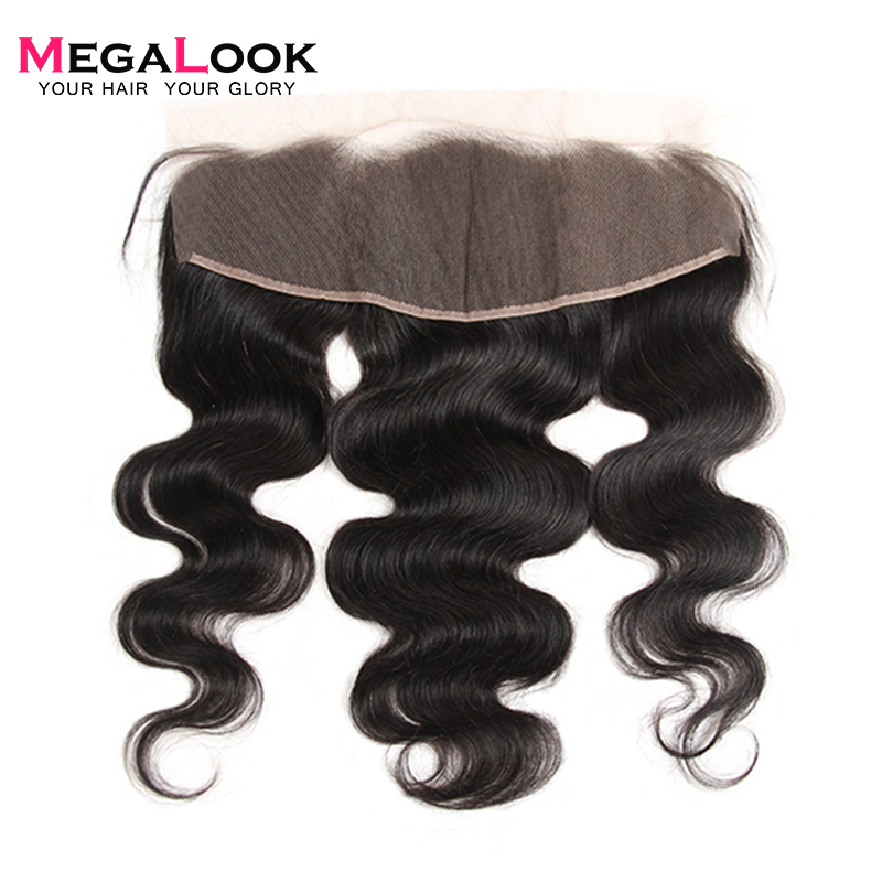 Megalook Human-Hair Frontal Natural-Color Peruvian with 10-22-Inch 13X4 Body-Wave Pre-Plucked