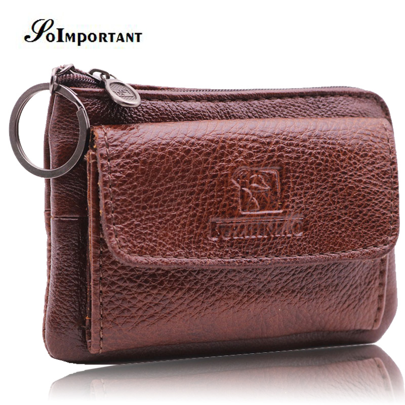 купить Genuine Leather Mini Wallet Coin Purse Vintage Small Men Wallets Male Magic Walet ID Credit Card Holder Money Bag With Key Ring по цене 541.94 рублей