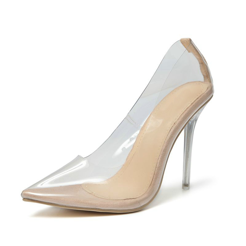 Sexy women's shoes fashion Transparent PVC pointed toed clear Crystal stilettos high heels shallow party shoes ApricotPlussiz