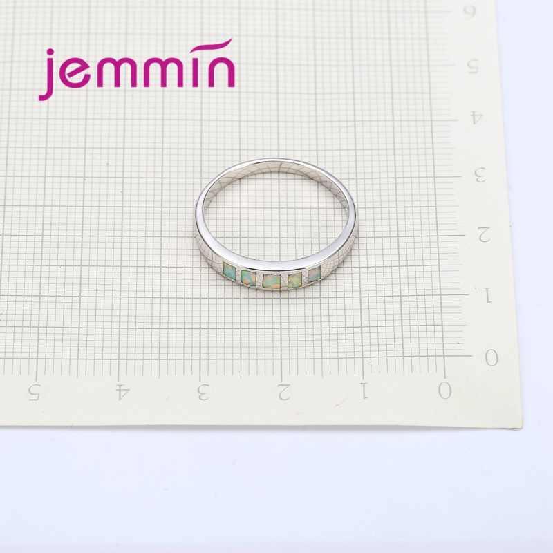 คุณภาพแบรนด์ Simple แหวนไฟสีขาวโอปอลสำหรับผู้หญิง/ผู้ชายหมั้น 925 Sterling Silver PARTY แหวนเครื่องประดับ