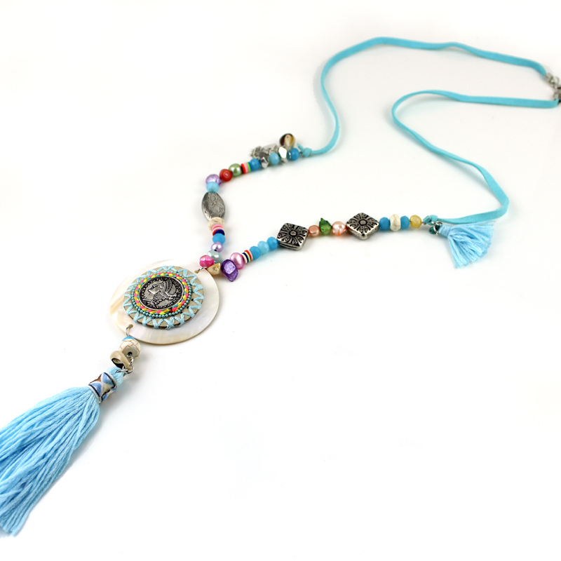 TRHRT 2019 New Bohemian Style Jewelry Blue Tassel Shell Circle Pendants Long Necklaces for lady go to beach Party Gift
