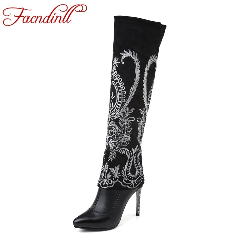 FACNDINLL 2017 new fashion women knee high boots real leather sexy thin high heels pointed toe shoes woman riding boots black is new skiip32nab12t49 igbt module