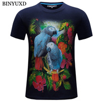 BINYUXD Cotton 3D Printed Bird T Shirts Mens Brand Clothing 2017 Fashion Stylish Designer Tee For