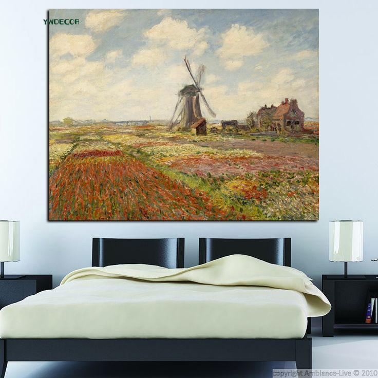 YWDECOR Print Tulip Fields With The Windmill Claude Monet Oil Painting on Canvas Art Impressionist Wall Picture  for Living Room