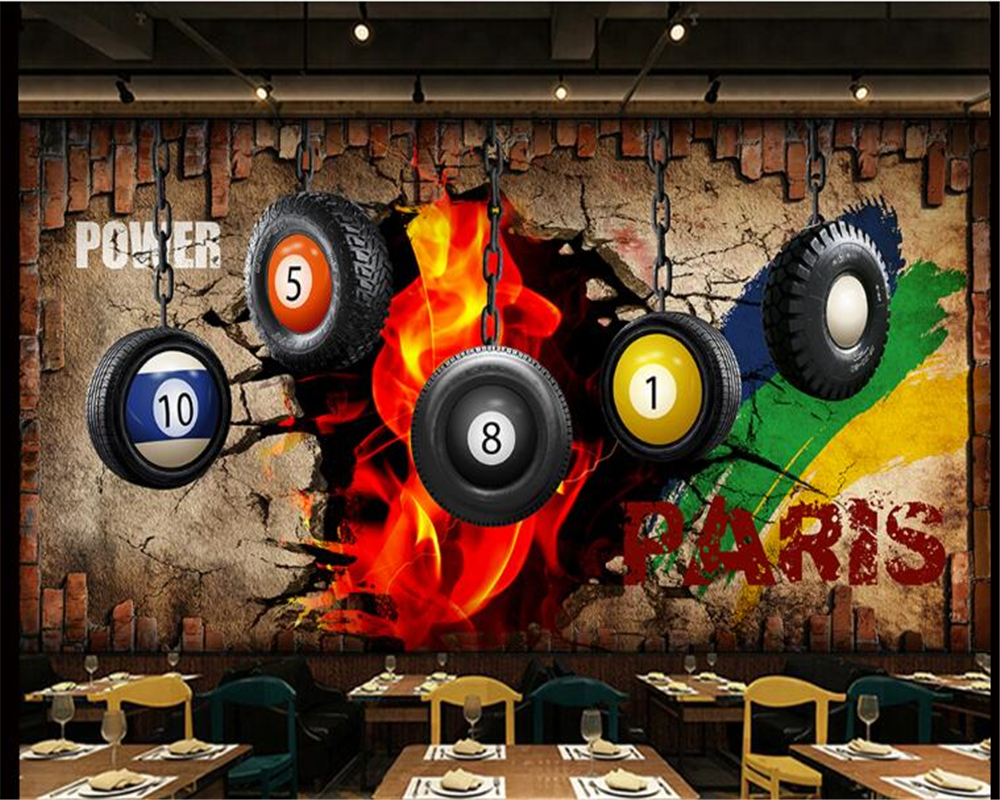 Beibehang Mural Fashion HD Billiard Image Wallpaper Wallpaper Billiard Wall Billiard Hall Snooker Poster Wall Papers Home Decor