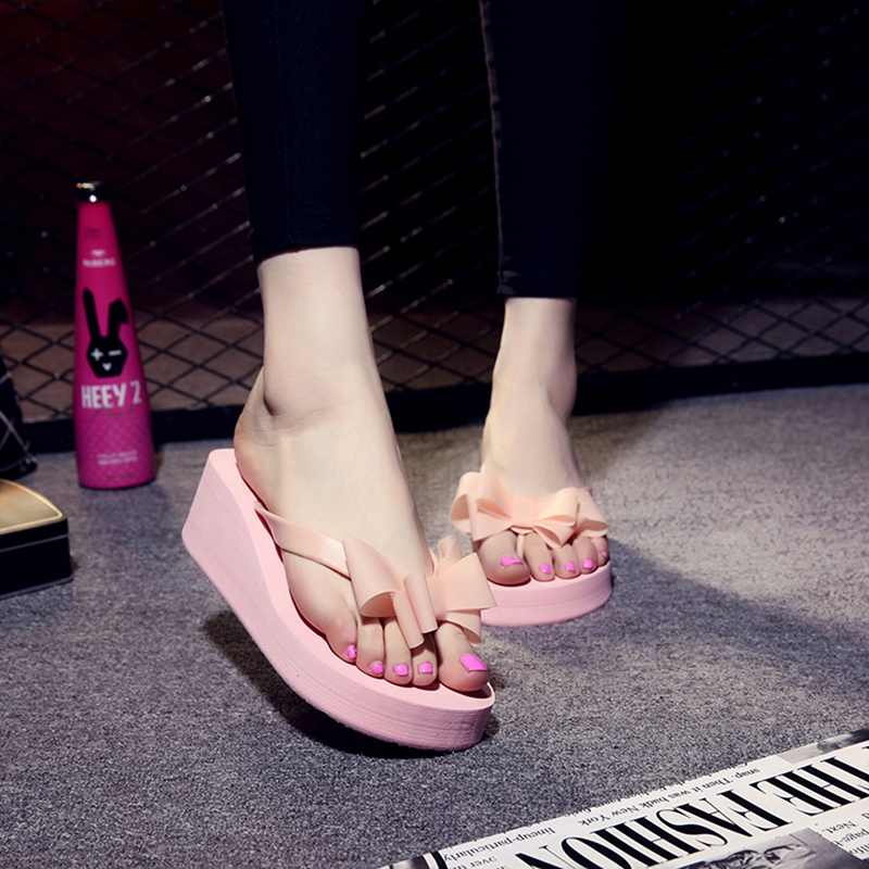 063864d6479a8 High Heels Women Flip Flops Platform Wedges Slippers EVA Bow Fashion ...