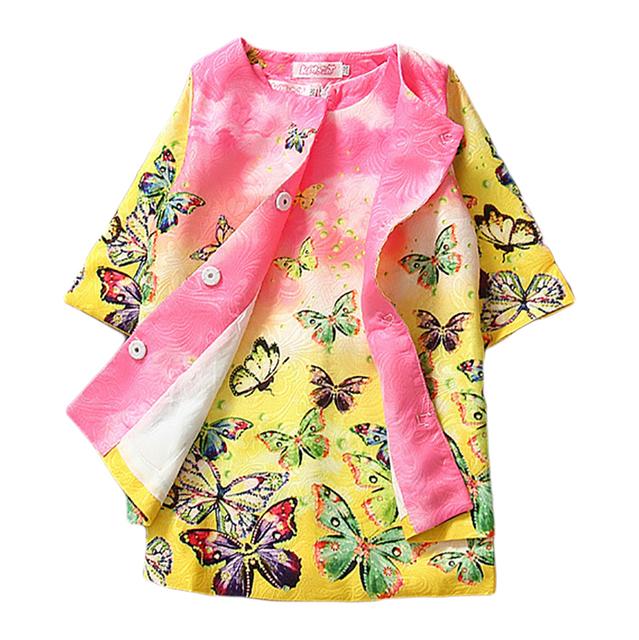 Crianças Meninas Conjuntos de Roupas 2016 Crianças Outono Inverno Dobby Kimono Jaqueta Agasalho Set Vestido Vestidos Florais 2 Pcs 3-7Yrs CS01