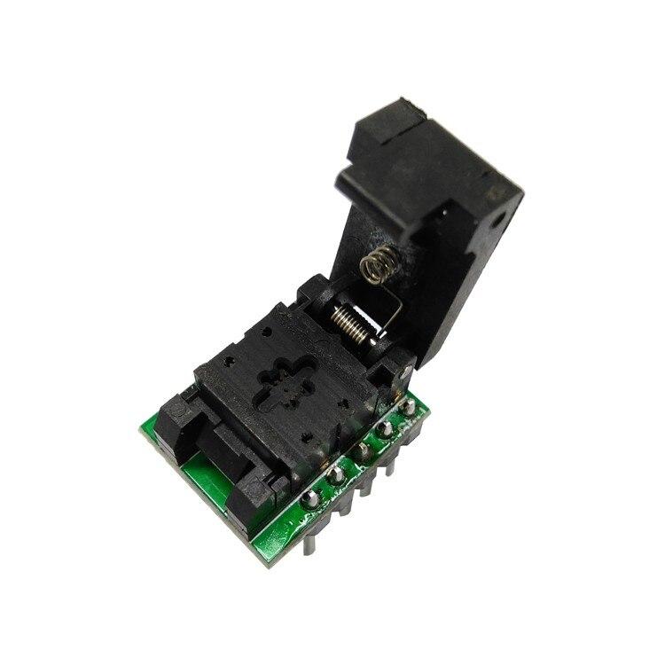 QFN8 DFN8 WSON8 prise de programmation Pogo broche sonde adaptateur broche pas 0.5mm IC taille du corps 2x2mm clapet Test prise programmeur