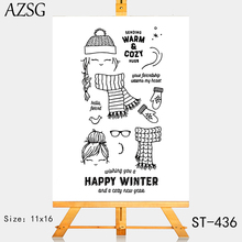 AZSG Scarf Gloves Glasses Lovely Girl Clear Stamps For DIY Scrapbooking/Card Making/Album Decorative Silicone Stamp Crafts