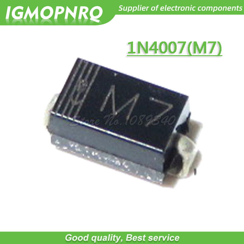200pcs/lot <font><b>SMD</b></font> rectifier <font><b>diode</b></font> <font><b>1N4007</b></font> IN4007 M7 SMA 1A 1000V New Original image