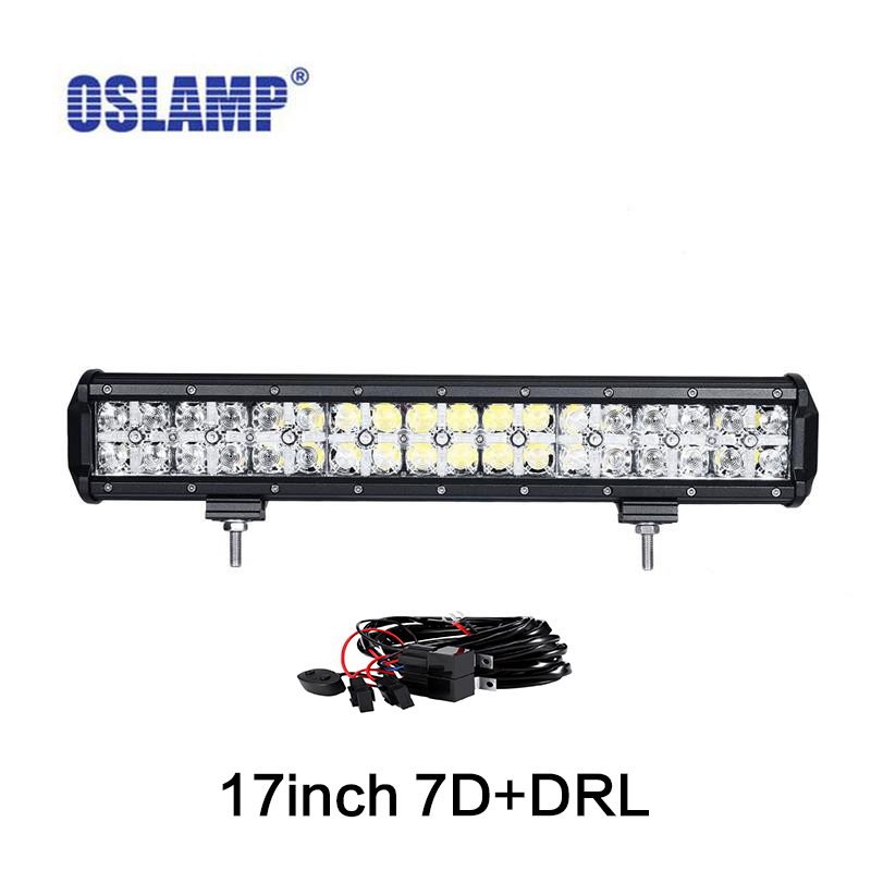 Oslamp 7D 17 inch 108W LED Work Light Bar Spot Flood Combo Beam Bar Light For Offroad 4x4 4WD SUV ATV Truck Tractor oslamp 52 300w spot flood combo beam offroad led light bar 12v 4x4 truck trailer tractor camper tractor 24v suv vans wagon 4wd