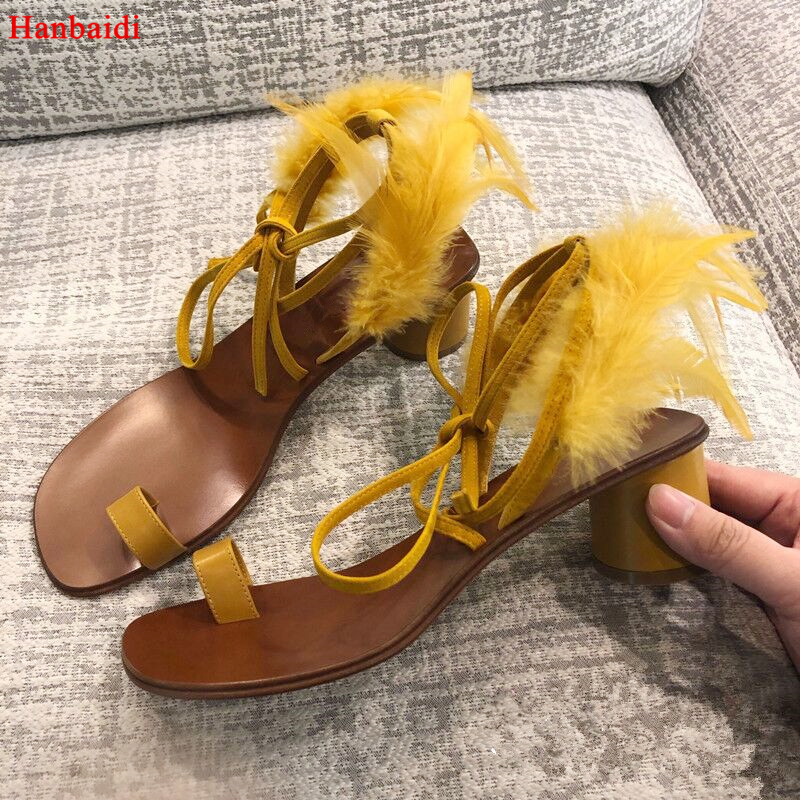 цена на Hanbaidi Yellow Feather Gladiator Sandals Woman Open Toe Chunky High Heel Shoes Woman Ankle Strappy Bandage Sandals Shoes Women