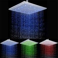 Новые 3 вида цветов красный/розовый/синий осадков привело душем 12 дюймов для ванной 7 цветов радуги душ светодиодные ld8030-a7