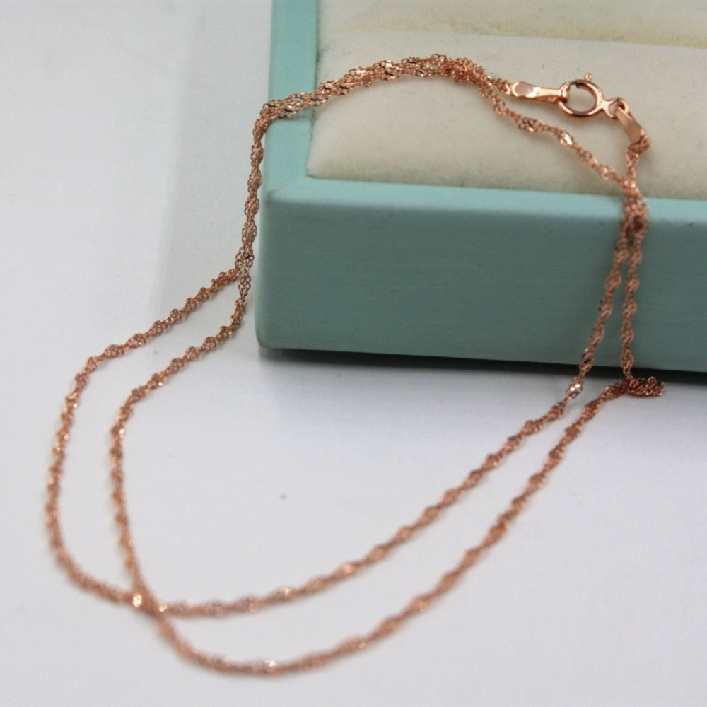 Fine Au750 Real 18K Rose Gold Chain Women Singapore Link Necklace  18inchFine Au750 Real 18K Rose Gold Chain Women Singapore Link Necklace  18inch