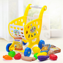 Kids Shopping Cart Toy Pretend Play Toys For Children Carriages For Dolls Mini Trolley With Fruit Vegetables Food Girl Toys