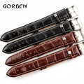 Brown Black Durable 18mm 20mm 22mm 24mm Band Width Soft Faux Leather Watch Band belt Strap silver Steel Buckle