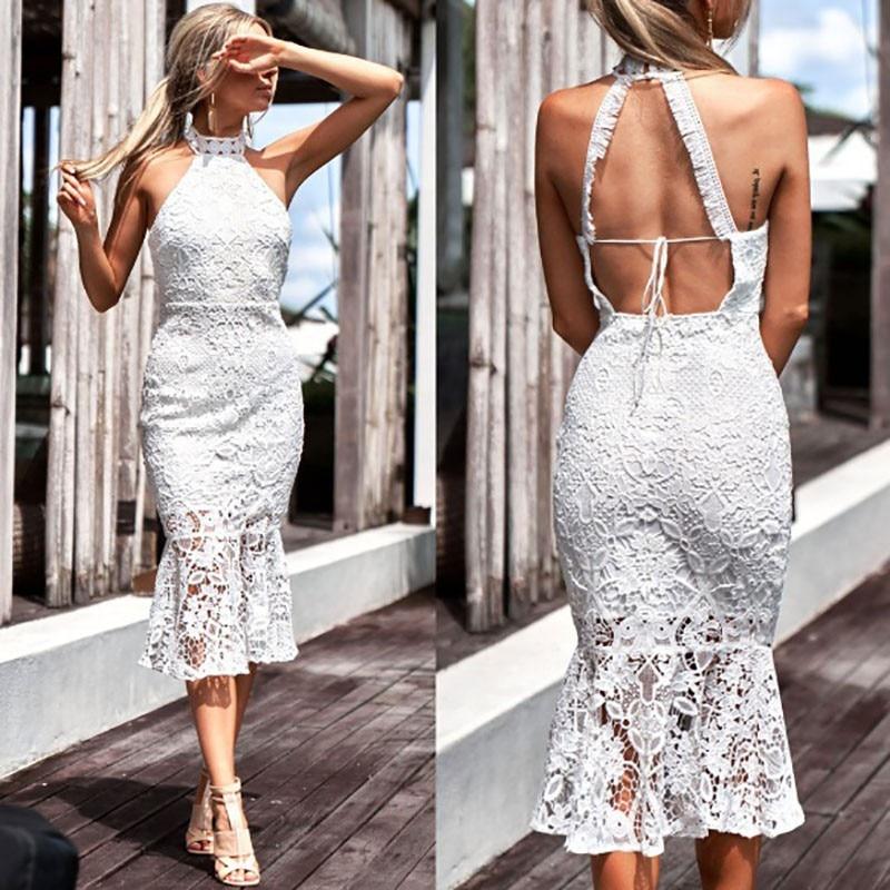 Buy DeRuiLaDy 2018 Elegant Women Maxi Dress Summer Sexy Halter Neck Sleeveless Nightclub White Lace Bodycon Long Dresses Vestidos