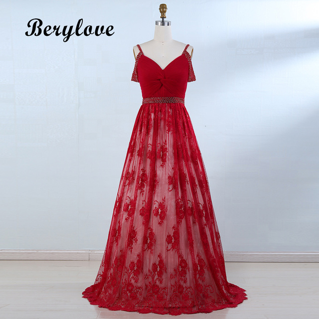 BeryLove Elegant Red Prom Dresses 2018 Lace Prom Gowns Long Cheap Evening  Dresses Women Formal Dresses Party Dresses Real Photos 53643151ffde