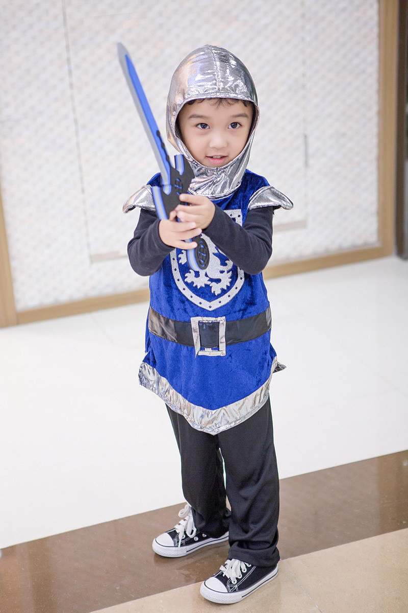 Children Boys Halloween Party Performance Cosplay Rider knight Warriors Vest And Pant Set Costume With Sword