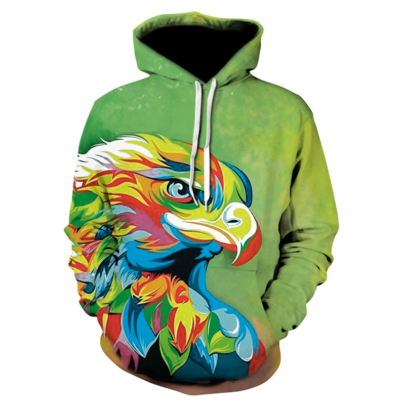 New 3D color eagle cool men and women casual hoodie autumn and winter fashion youth cool hooded sweatshirt Men's casual pullover