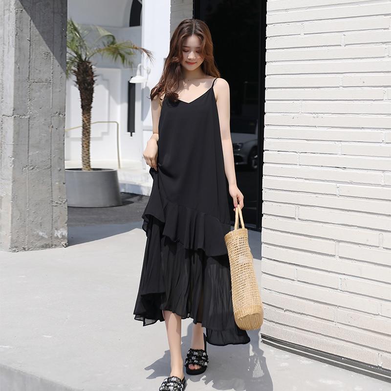 Summer Sexy Women Dresses Loose Long Dress Chiffon Sling V-neck Sleeveless Maxi