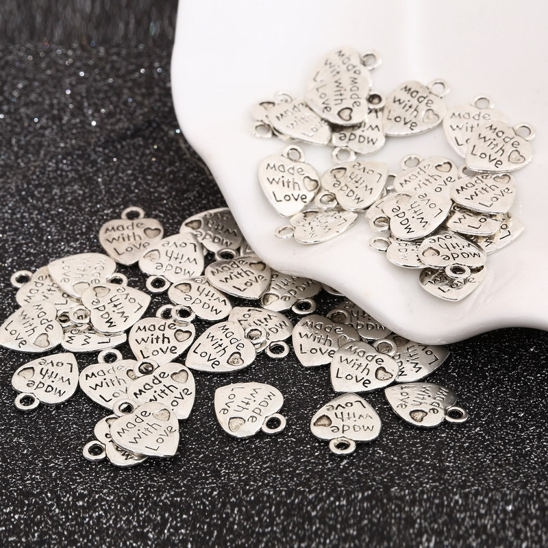 50pcs/lot Heart DIY Pendants MADE WITH LOVE Printed Wedding Decoration DIY Craft Embellishment Party Home Baby Shower decor