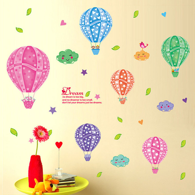 Cartoon 3D DIY Colorful Hot Air Balloons Wall Stickers For Children U0027s Room  Sticker Mural