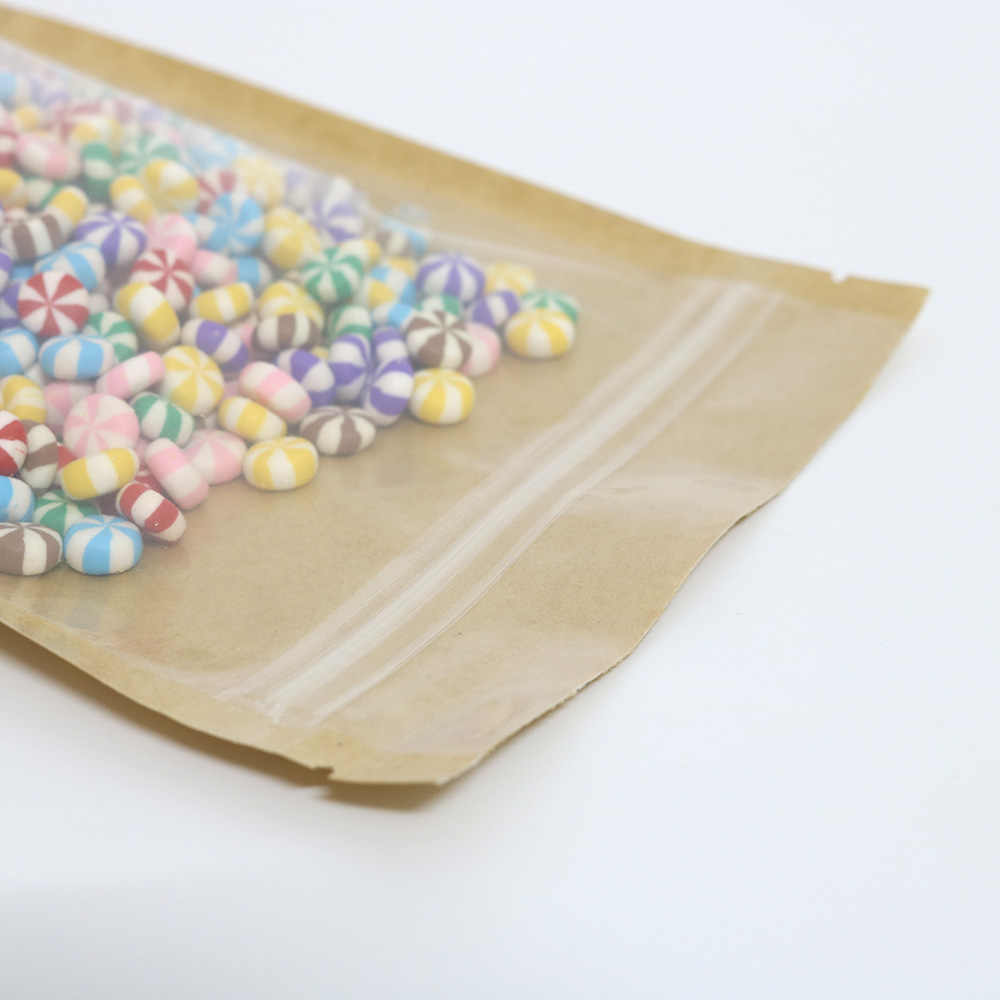 Высокое качество 100 шт место для отрыва Прозрачный передний пластик крафт стоьте вверх мешочки на застежке-молнии коричневый крафт бумажные пакеты с окошком