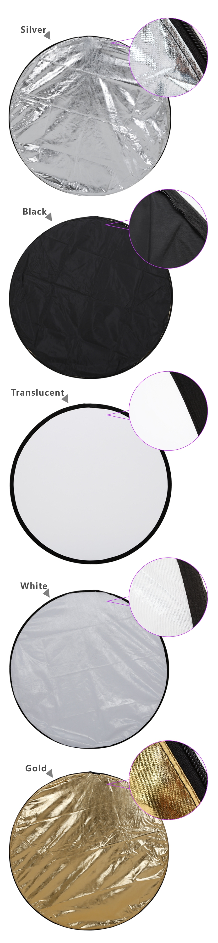 Camera reflector CRK-80 5 in 1 Portable Collapsible Light Round Reflector Studio Photo Photography Accessories with Carrying Bag 20