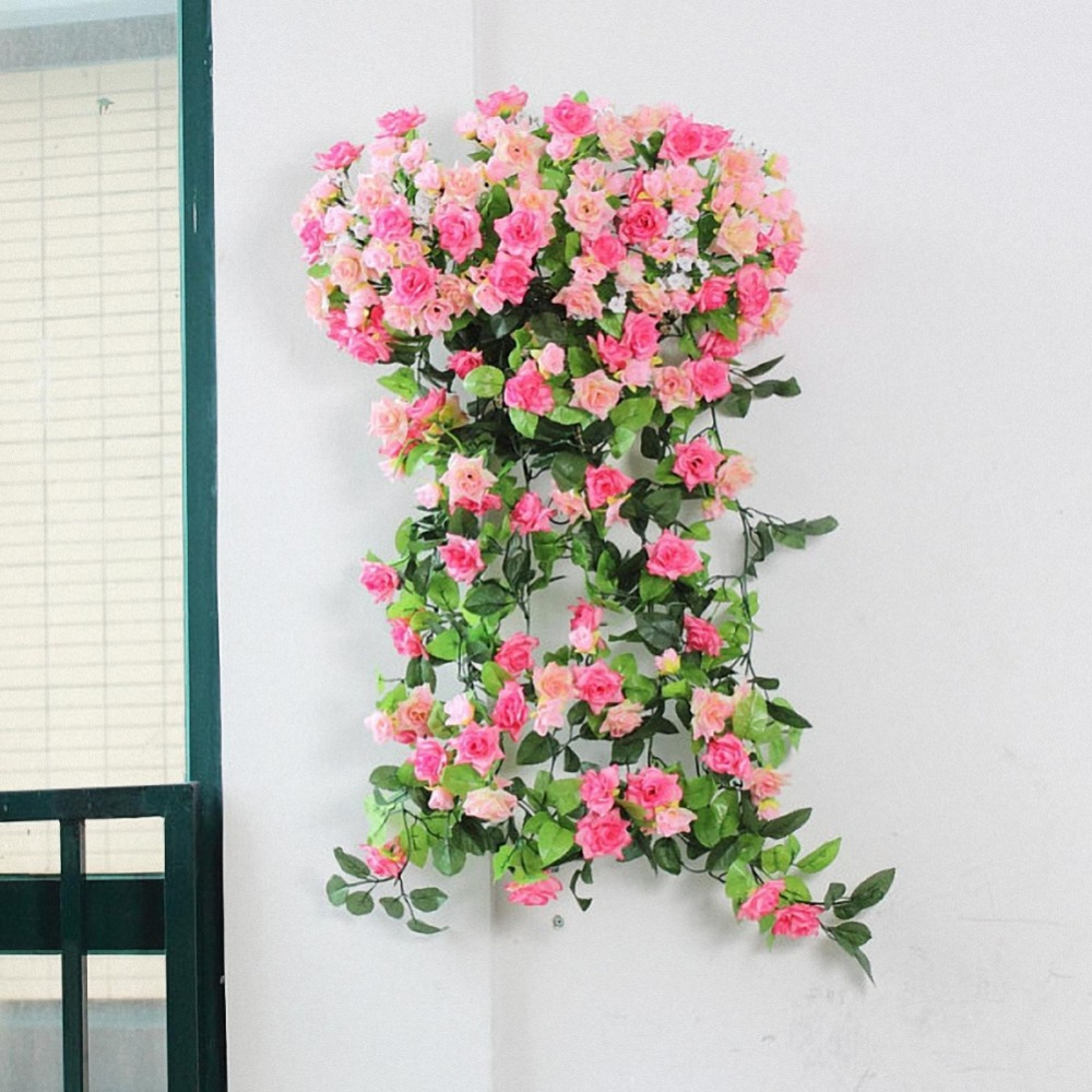 Hot sale!! 2.5M Artificial Rose Garland Flower Vine Ivy Home Wedding Garden Floral Decoration Drop Shipping