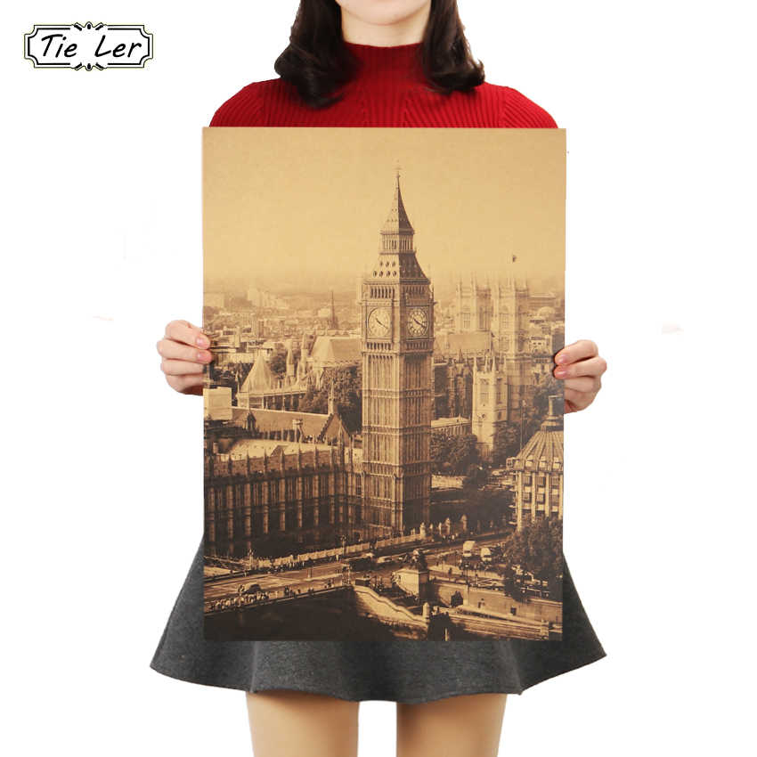 TIE LER London Famous Building Big Ben Nostalgic Vintage Kraft Paper Poster Decoration Painting Wall Stickers 36 X 51.5cm