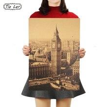 TIE LER London famoso edificio Big Ben nostálgico papel Kraft clásico decoración de carteles pintura pegatinas de pared 36X51,5 cm