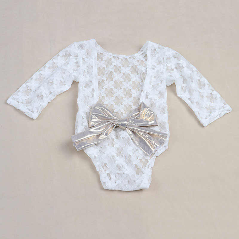 e2aa31dc0ea9 White Newborn Photography Props Baby Girl Lace Romper with Bow Infant  Jumpsuit Baby Girl Clothes for